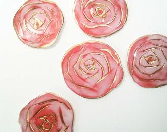 red rose brooch, ceramic  flower brooch