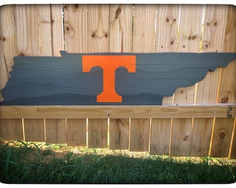 Tennessee Wood Cutout Wall Hanger - Tennessee Vols Power T - Gray Smoky Mountains - Wall Decor