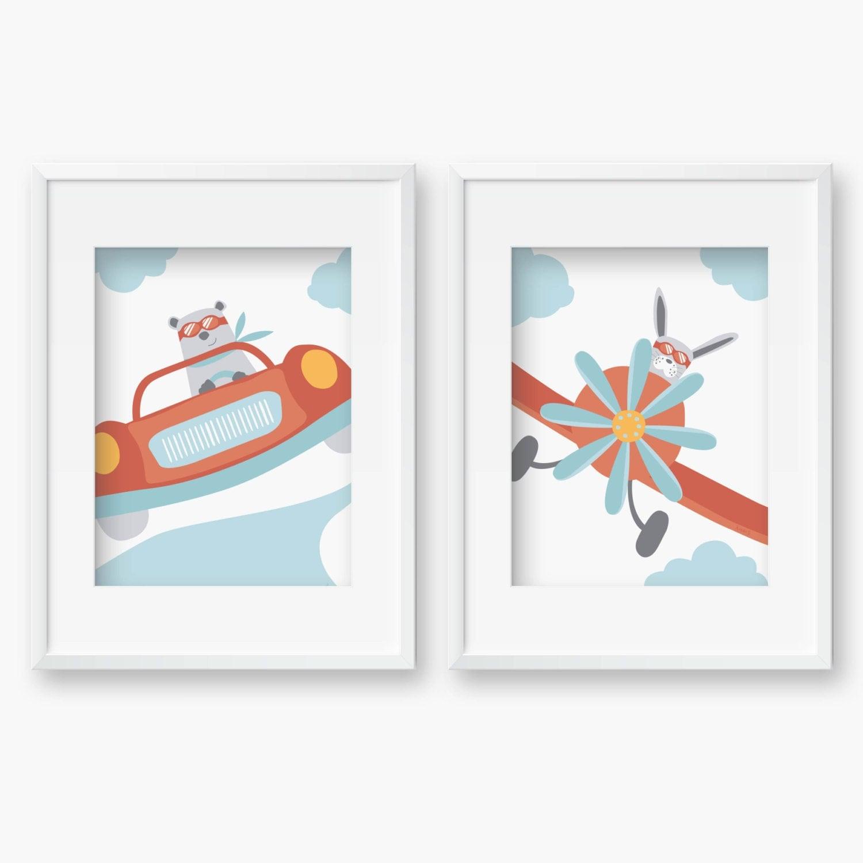 2 Affiches Voiture de course et AvionDeco chambre bébé