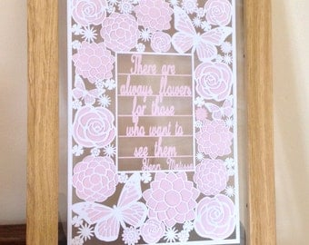 There are Always Flowers - Matisse quote - Paper Cut Floating Frame
