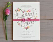 Wedding Invitation with a Dusty Pink Ribbon