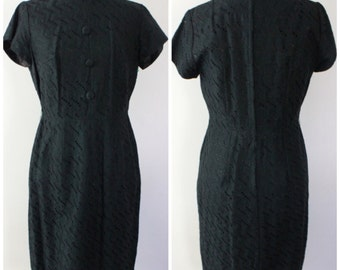Vintage 60s Eyelet Lace Little Black Dress - Wiggle Dress - Size Medium, Large