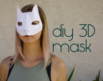 Cat Kitty Mask - Make your own with a PDF Download - halloween costume, mask template, papercraft, costumes, halloween, diy, Masquerade mask