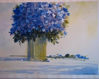 Purple flower watercolor, original watercolor painting, purple flowers, purple bouquet, blue flowers, blue bouquet, #27