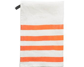 Pondicherry linen tea-towel, coral on white