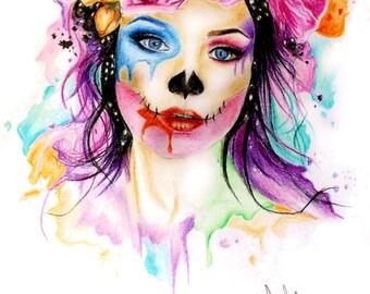 Sugar Skull girl flower crown print