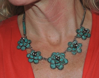 Old Raw, Untreated Turquoise/Sterling Neck Piece