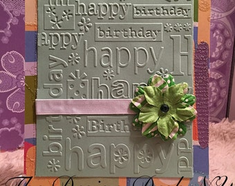 Beautifully Embossed Happy Birthday Card Greeting Card