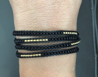 Black and Gold Beaded Wrap Bracelet (Chan Luu Remake)