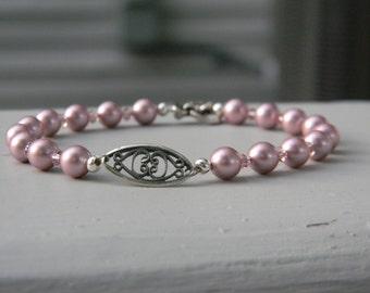 Pink Swarovski pearl and crystal bracelet