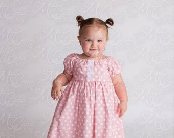 Vintage Inspired Pink dot peasant dress with lace trim size NB-8