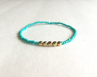 Turquoise Seed Bead Stretch Bracelet