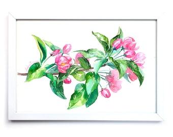 Apple Tree in Blossom. Watercolor Art Print 7,8x11,8