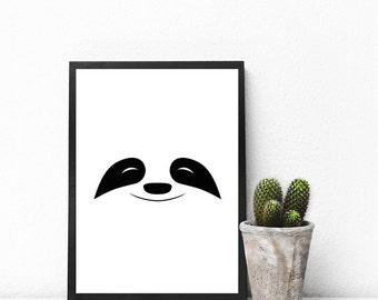 Sloth Poster, Minimalist Print, Nursery, Graphic Art, Print Design, Wall Decor, Printable Gift, Typography Print, Black and White, B&W