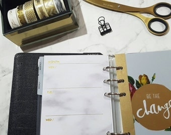 Personal (MM) Medium size GOLD FOIL and Marble Week on two pages WO2P planner inserts |Refills for Kikki k,Filofax, Louis Vuitton agenda