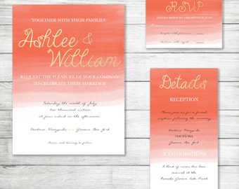 Custom Wedding Invitation Kit Coral Gold Watercolor Natural Digital File Printable Version