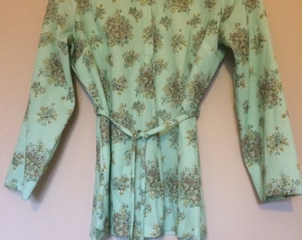 Vintage Floral Print Belted Tunic Top 1970's
