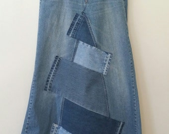 Women's Reconstructed DENIM MAXI Skirt with Denim PATCHWORK, Size 6