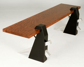"""Modern Bench In Bubinga And Black Wood With Cantilevered Seat, """"Chopstick"""""""