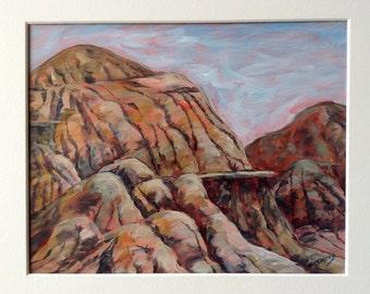 Original Painting of Hoodoos in the Badlands of Alberta, Canada 8x10 Inches on TerraSkin Paper