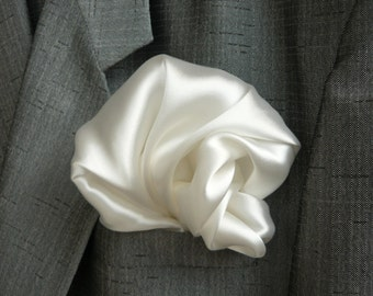 SILK Pocket Square White Weddings Set of 3 Mens gifts for him HOLDERS men puff hanky hankies Fathers Day Gift squares Satin FS 108