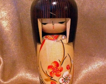 Vintage Signed Hand Painted Wooden Kokeshi doll from Japan