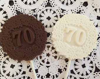 """Number """"70"""" Chocolate Lollipops(12 qty)-70th Birthday Party-70th Anniversary Party-70th Celebration- Number 70 Party Favor - #70 Party Favor"""