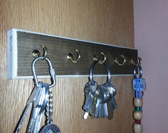 wood and brass key rack