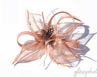 Antique pink Classic Flower Fascinator  Clip and Brooch