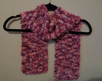 Hand-knit scarf - pink and purple
