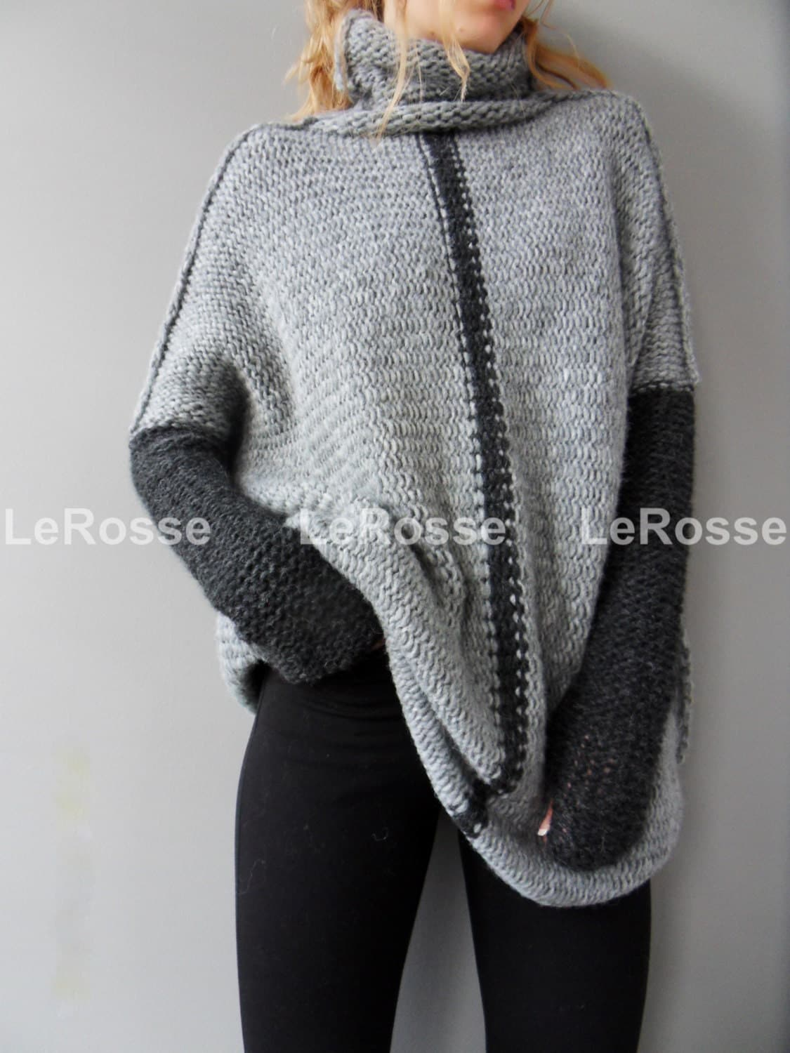 Oversized/Slouchy/Loose knit sweater. Aplaca sweater. Chunky