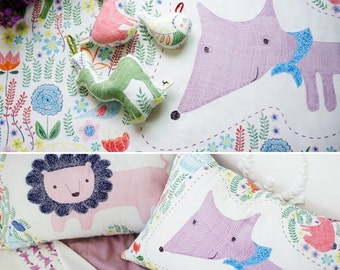 Scandinavian Lion, Fox, Rabbit, Forest Patterned Fabric made in Korea by the Panel