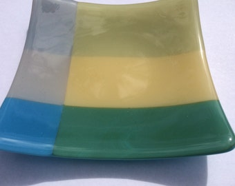 Green, yellow and blue fused glass bowl