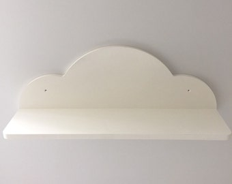 Nursery cloud shelf with open front painted white 70cms wide new