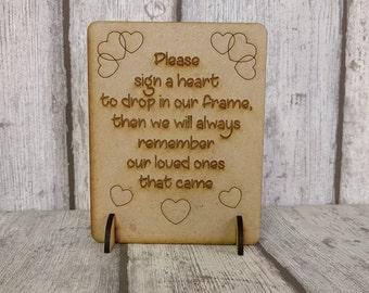 Wooden Heart Guest Book Sign