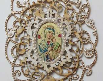 Faux Baroque Gold/Pearl Madonna and Child