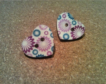 Earrings with wooden buttons-Earing from wood buttons
