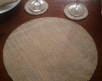 8x Round Burlap/Hessian Placemats for Weddings, Engagements, Celebrations, Parties etc.