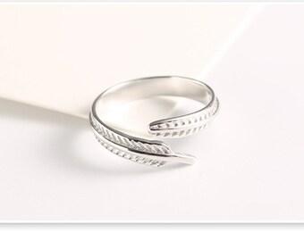 leaf ring, sterling silver leaf ring, simple leaf ring, simple sterling silver ring, simple silver ring