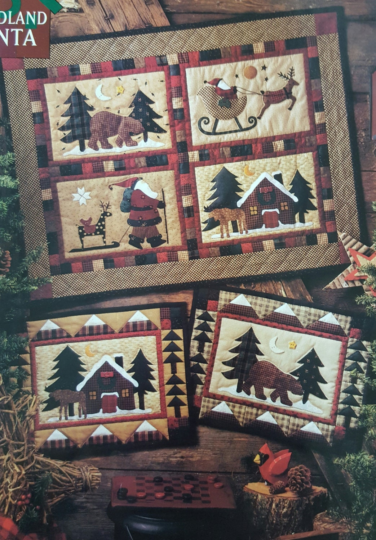 Vintage Craft Pattern Woodland Santa 4 Block Quilt Farmhouse
