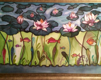 "Batik,""Lake"",art,Picter on silk,handmade,paints for silk painting"