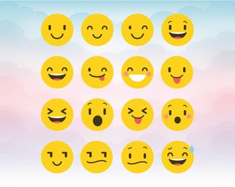 Smiley Faces Emoji - Silhouette Cameo Cutting Files - Emoticons icon- Emoji SVG file - Smiley clipart for digital cutting machines