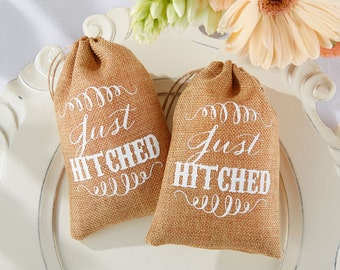 Set of 24-  Just Hitched Burlap drawstring Favor Bags