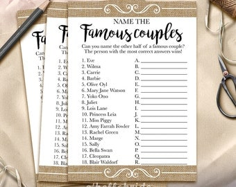 Guess the Famous Couples Bridal Shower Game - Name the Famous Couples Printable Rustic Burlap Bridal Shower Game - Bachelorette Party 002