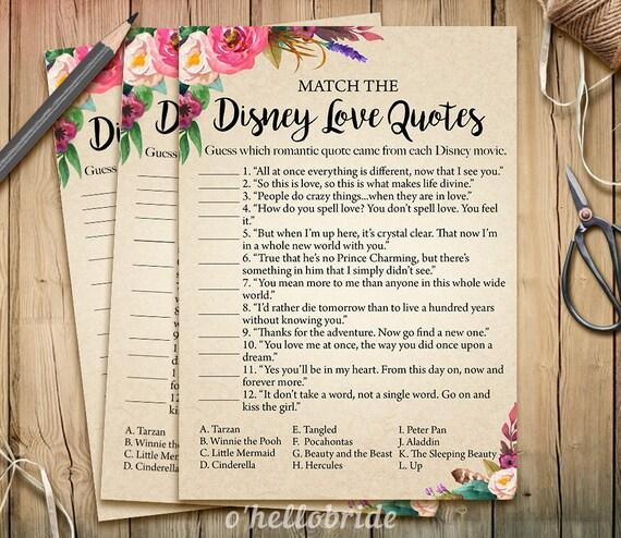 Disney Love Quotes: Disney Love Quotes Match Game Printable Bohemian Bridal