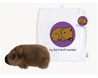 Flat Friends Wombat Lambskin with Cotton Drawstring Bag