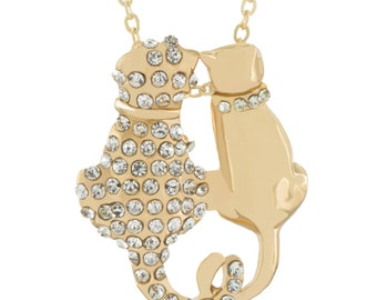Cats Necklace Gold Plated Kittens Pendant - Elegant Gift Box