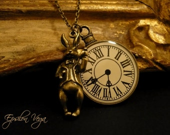 Alice in Wonderland necklace - Rabbit and clock