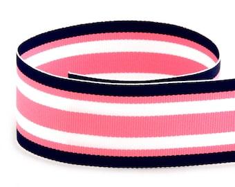 Navy Pink Surfboard Woven Grosgrain Ribbon     (08-112-ST-294)
