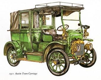 Antique Car Vintage Bookplate Print *1911 Austin Town Carriage* Vintage Motorcars Colorful, Detailed Peter Griffin Illustration Home Decor